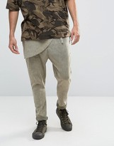 Asos Extreme Drop Crotch Acid Wash Pants With Wrap Around Front In Light Khaki