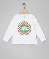 Swag White Zigzag Script Monogram Tee - Toddler & Girls