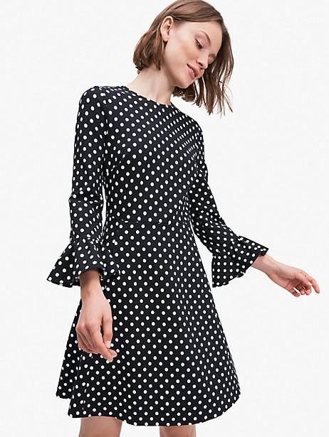 Kate Spade Domino Dot Flounce Sleeve Ponte Dress