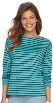 Chaps Women's Striped Zipper Shoulder Tee