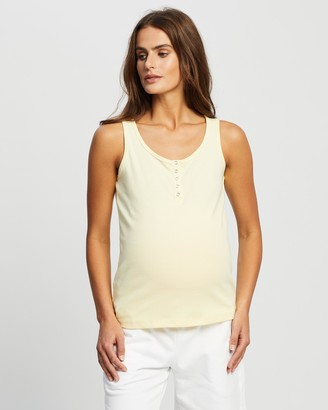 Cotton On Maternity - Women's Yellow Maternity Singlets - Maternity Henley Sleeveless Tank - Size L at The Iconic