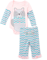 Buster Brown Orchid Pink & Sachet Pink 'Cuddly' Bodysuit & Pants - Infant