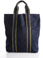 Hermes Navy Blue Green Canvas Striped Foure Tout Cabas Small Tote Handbag MHL