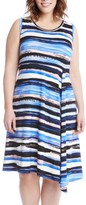 Karen Kane Plus Size Women's Painted Stripe A-Line Dress