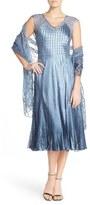 Komarov Women's Lace Accent Charmeuse A-Line Dress & Chiffon Shawl