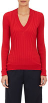 Maison Margiela Women's Ribbed Fitted Wool V-Neck Sweater-RED