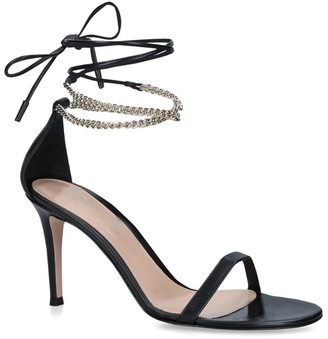 Gianvito Rossi Leather Ankle-Wrap Kira Sandals 85