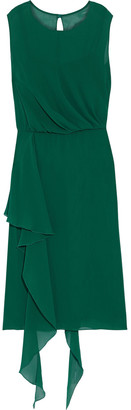 Max Mara Draped Gathered Silk-georgette Dress