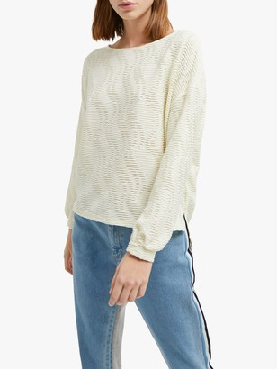 French Connection Tiarella Texture Jersey Top, Super Lemon