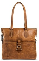 Børn Leather Women's Tote Handbag with Multiple Compartments and Zipper Closure - Saddle