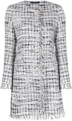 Tagliatore Frayed Tweed Coat