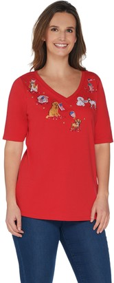 Factory Quacker American Dog Embroidered Elbow Sleeve Knit T-Shirt