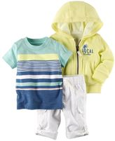 Carter's Baby Boy Hooded Cardigan, Striped Tee & Convertible Pants Set