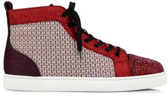 Christian Louboutin Louis Mix Media Jacquard & Leather High-Top Sneakers