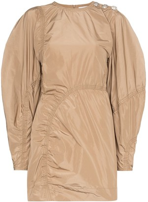 Ganni Ruched-Detail Mini Dress
