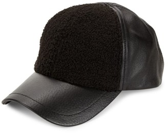 UGG Faux Sherpa & Leather Baseball Cap