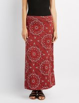 Charlotte Russe Printed Foldover Maxi Skirt