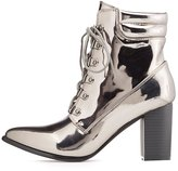 Charlotte Russe Metallic Pointed Toe Lace-Up Booties