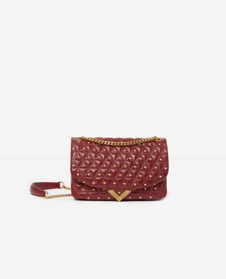 The Kooples Medium burgundy leather bag with golden studs Stella