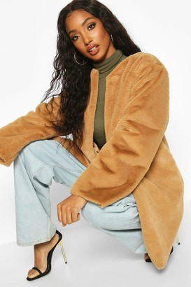 boohoo Collarless Faux Fur Coat