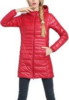 Lukitty Women's Hooded Packable Down Coat Lightweight Long Puffer Jacket Parka M