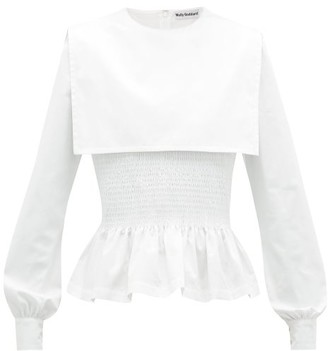 Molly Goddard Lucy Shirred Cotton-poplin Peplum Top - White