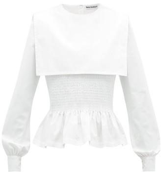 Molly Goddard Lucy Shirred Cotton Poplin Peplum Top - Womens - White