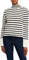Tory Burch Striped Wool-Blend Turtleneck Sweater