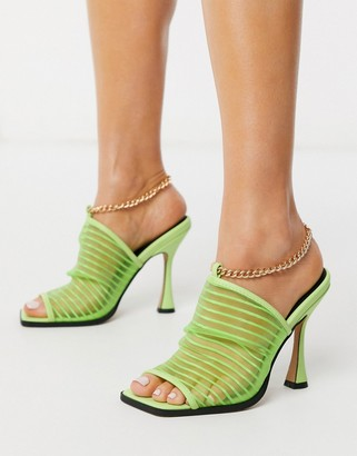 ASOS DESIGN Nelson square toe mesh heeled sandals in green