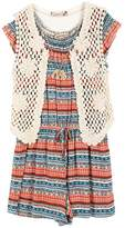 Speechless Girls 7-16 Crochet Vest & Tribal Striped Patterned Romper Set with Necklace