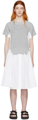 Sacai White and Grey Knit Panel Dress