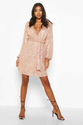 boohoo Tall Belted Sequin Blazer Dress