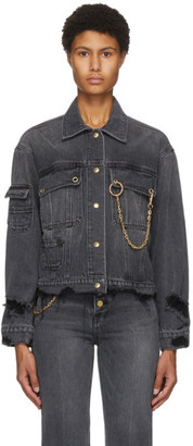 Sjyp Black Denim Distressed Jacket