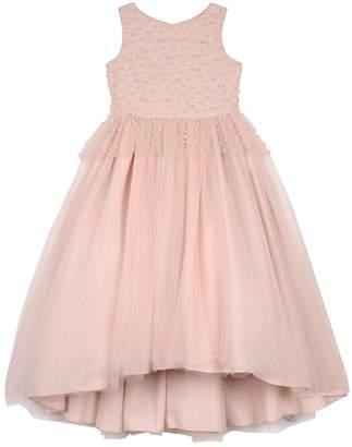 Badgley Mischka Kid's Peplum High-Low Maxi Dress w/ Pearly Bead Trim, Size 4-6X