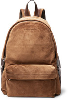 Brunello Cucinelli Leather-trimmed Suede Backpack - Tan