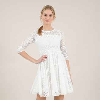 Molly Bracken Cotton Mix Mini Dress in Lace with 3/4 Length Sleeves