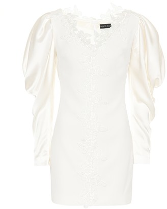 David Koma Embroidered puff-sleeved minidress