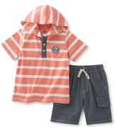Kids Headquarters Two-Piece Striped Hooded Tee and Shorts Set