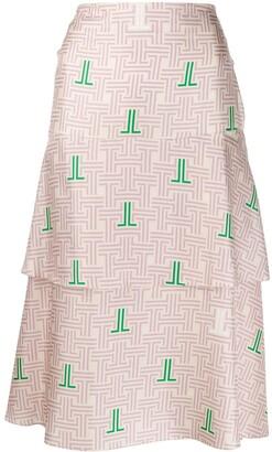 Lanvin JL monogram print skirt
