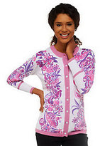 Bob Mackie Bob Mackie's Summer Harvest Button Front Cardigan with Contrast Trim