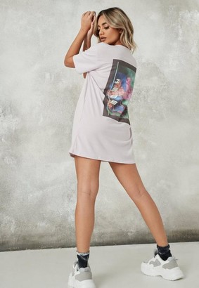 Missguided Tall Lilac 1989 Graphic Back Oversized T Shirt Dress