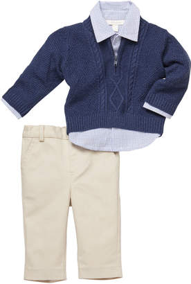 Miniclasix Cable-Knit Sweater & Gingham Shirt w/ Khaki Pants, Size 3-24 Months
