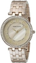 Anne Klein Women's AK/2130TNGB Swarovski Crystal Accented Gold-Tone and Tan Ceramic Bracelet Watch