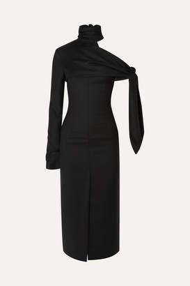 MATÉRIEL Draped One-shoulder Wool Midi Dress - Black