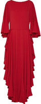 Lanvin Ruffled Crepe De Chine Gown - Crimson