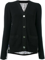 Sacai crochet print eyelet lace back cardigan - women - Cotton/Polyester - 1
