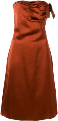 Versace Pre Owned Draped Strapless Dress