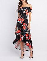 Charlotte Russe Floral Off-The-Shoulder High-Low Maxi Dress