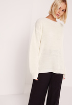 Missguided Cream Waffle Knit Crew Neck Sweater