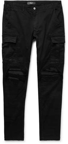 Amiri Black Mx1 Slim-Fit Tapered Stretch-Cotton Twill Cargo Trousers